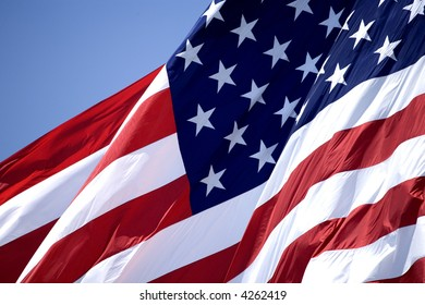 United States of America flag waving in the wind