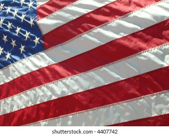 United States of America flag waving in the wind.