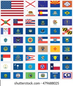 A United States of America states flags collection
