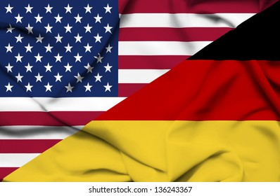 United States of America and Germany waving flag