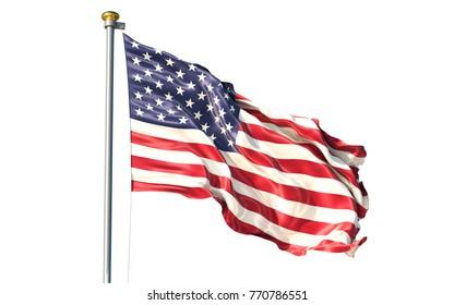 United States of America isolated on white background waving flag