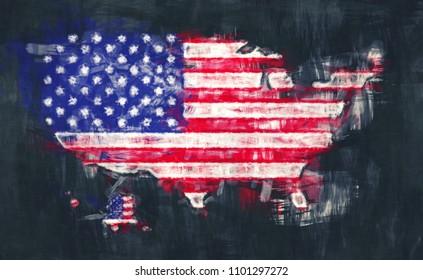 United States of America map artwork painting illustration