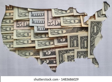 United States of America map formed with american dollars bills and gray background