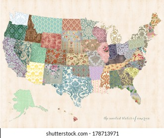 United States of America Map on linen canvas with whimsical quilt detail
