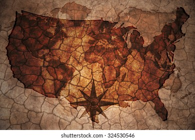 united states of america map on vintage crack paper background