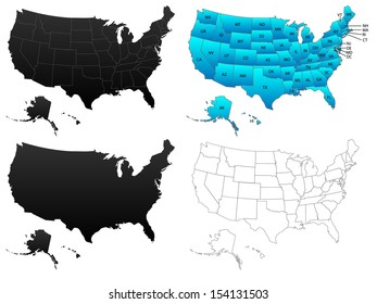 United States of America maps, flat, borders, contours and colored with states initials, illustration