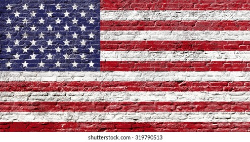 United states of America - National flag on Brick wall