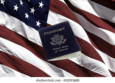 United States of America Passport with the American Flag