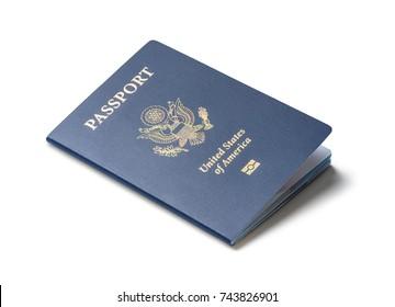 United States of America passport isolated on white background
