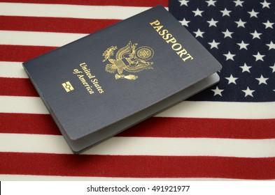 United states of america passport on us flag background