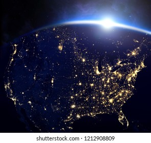 United states of America from the space at night Elements of this image furnished by NASA