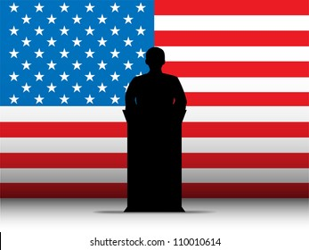 United States of America  Speech Tribune Silhouette with Flag Background