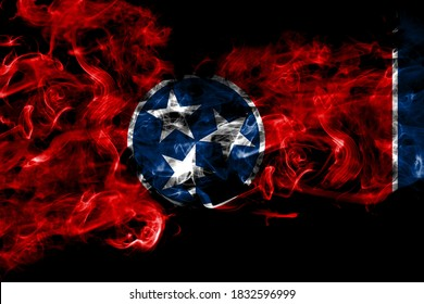 United States of America, America, US, USA, American, Tennessee smoke flag isolated on black background