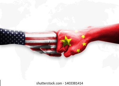 United States of America (USA) and China trade war of global. Hands with america and chinese flag