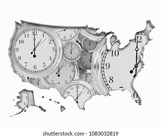 United States of America USA Clock Time Passing Forward Future 3d Illustration