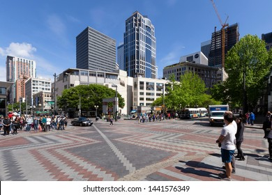 United States of America, USA, Seattle, Washington, 4th Ave and Pine St, 17th of May 2019. View on the Westlake Park in downtown Seattle.