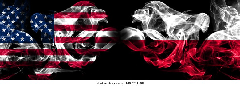 United States of America, USA vs Poland, Polish background abstract concept peace smokes flags.