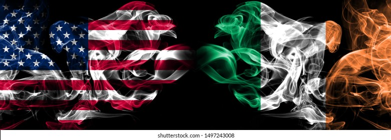 United States of America, USA vs Ireland, Irish background abstract concept peace smokes flags.