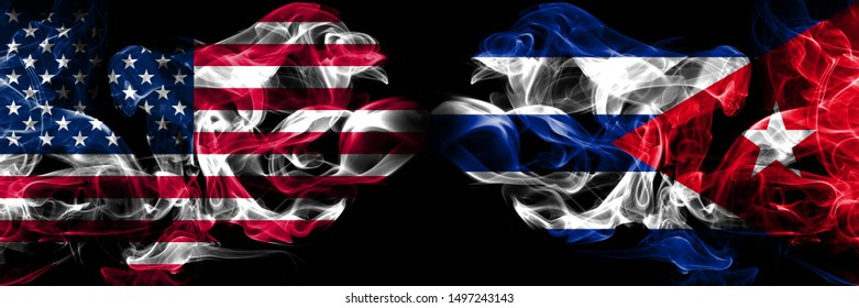 United States of America, USA vs Cuba, Cuban background abstract concept peace smokes flags.