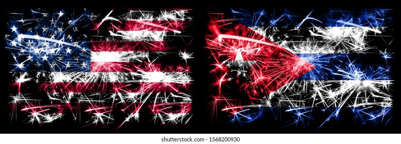 United States of America, USA vs Cuba, Cuban New Year celebration sparkling fireworks flags concept background. Combination of two abstract states flags.