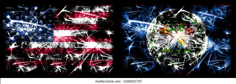 United States of America, USA vs Belize, Belizean New Year celebration sparkling fireworks flags concept background. Combination of two abstract states flags.