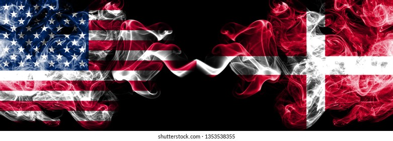 United States of America vs Denmark, Danish smoky mystic flags placed side by side. Thick colored silky smoke flags of America and Denmark, Danish.