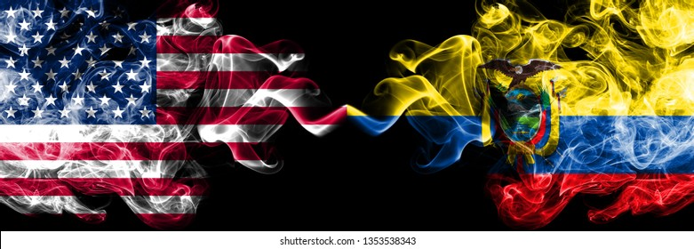 United States of America vs Ecuador, Ecuadorian smoky mystic flags placed side by side. Thick colored silky smoke flags of America and Ecuador, Ecuadorian.