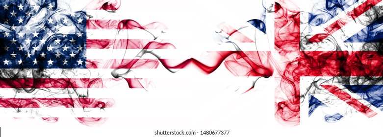United States of America vs United Kingdom, British smoky mystic flags placed side by side. Thick colored silky abstract smokes banner of America and United Kingdom, British