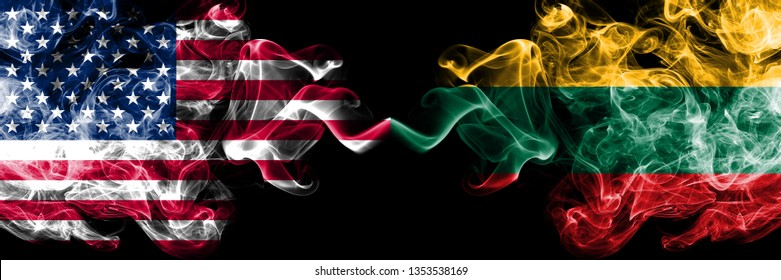 United States of America vs Lithuania, Lithuanian smoky mystic flags placed side by side. Thick colored silky smoke flags of America and Lithuania, Lithuanian.