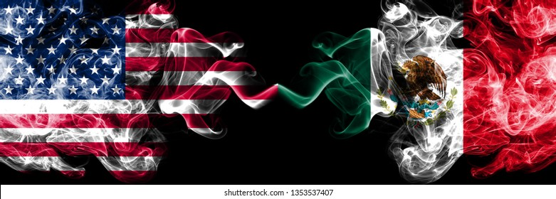 United States of America vs Mexico, Mexican smoky mystic flags placed side by side. Thick colored silky smoke flags of America and Mexico, Mexican.