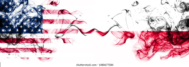 United States of America vs Poland, Polish smoky mystic flags placed side by side. Thick colored silky abstract smokes banner of America and Poland, Polish