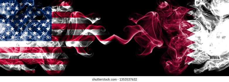 United States of America vs Qatar, Qatari smoky mystic flags placed side by side. Thick colored silky smoke flags of America and Qatar, Qatari.