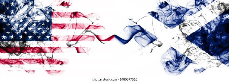 United States of America vs Scotland, Scottish smoky mystic flags placed side by side. Thick colored silky abstract smokes banner of America and Scotland, Scottish