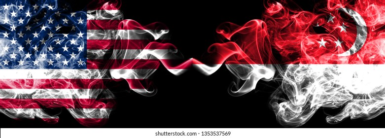 United States of America vs Singapore, Singaporean smoky mystic flags placed side by side. Thick colored silky smoke flags of America and Singapore, Singaporean.