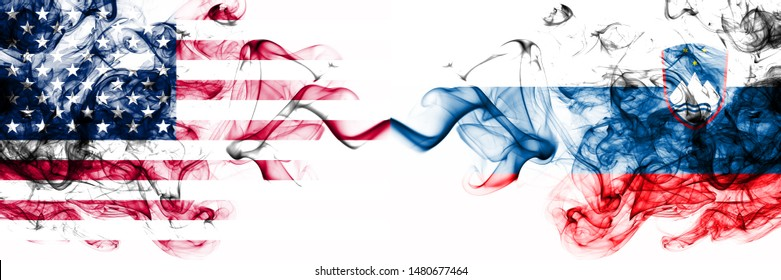 United States of America vs Slovenia, Slovenian smoky mystic flags placed side by side. Thick colored silky abstract smokes banner of America and Slovenia, Slovenian