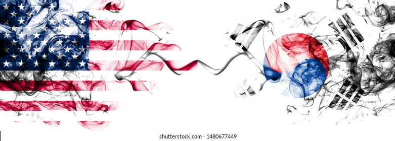 United States of America vs South Korea, Korean smoky mystic flags placed side by side. Thick colored silky abstract smokes banner of America and South Korea, Korean