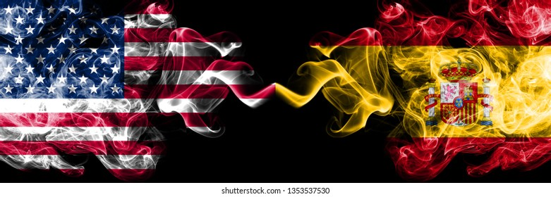 United States of America vs Spain, Spanish smoky mystic flags placed side by side. Thick colored silky smoke flags of America and Spain, Spanish.