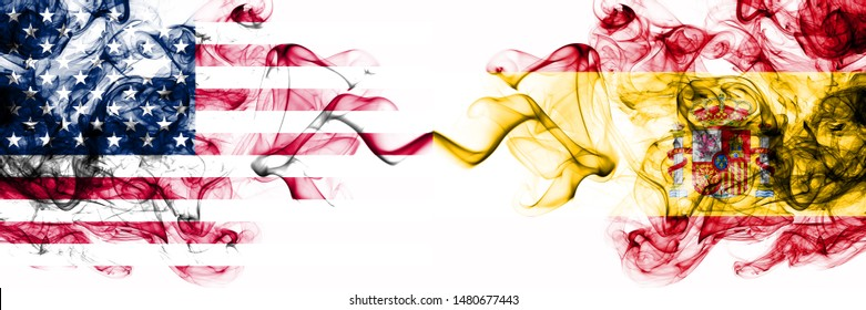 United States of America vs Spain, Spanish smoky mystic flags placed side by side. Thick colored silky abstract smokes banner of America and Spain, Spanish