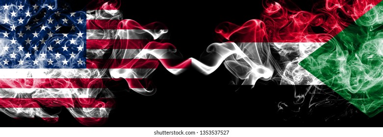 United States of America vs Sudan, Sudanese smoky mystic flags placed side by side. Thick colored silky smoke flags of America and Sudan, Sudanese.