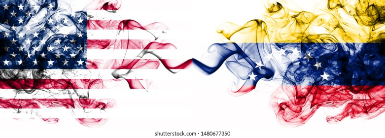 United States of America vs Venezuela, Venezuelan smoky mystic flags placed side by side. Thick colored silky abstract smokes banner of America and Venezuela, Venezuelan