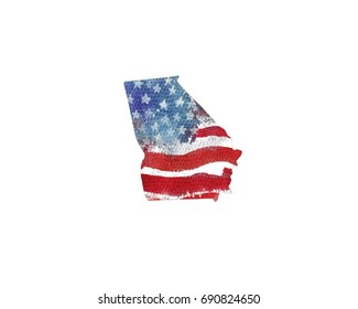 United States Of America. Watercolor texture of American flag. Georgia.