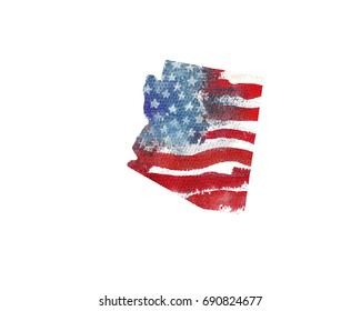 United States Of America. Watercolor texture of American flag. Arizona.