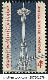 United States of America-Circa 1962: A stamp issued during the Seattle World's Fair showing the Space Needle.