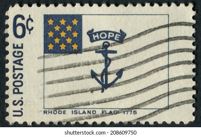 United States of America-Circa 1968: a commemorative stamp issued featuring the Rhode Island state flag.