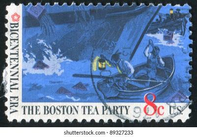 UNITED STATES OF AMERICA-CIRCA 1973: stamp printed by United States of America, shows Boston tea party, circa 1973