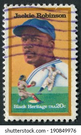 United States of America-Circa 1982: A stamp issued to honor Jackie Robinson, the first black player to play Major League Baseball.
