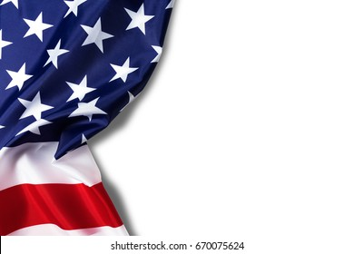 United States of American flag border isolated on white background with clipping path