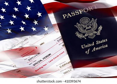 United States of American passport with a first class boarding pass and the American Flag