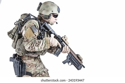 United States Army ranger with assault rifle and grenade launcher