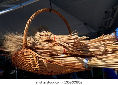 United States, California, Solvang. Outdoor market, wheat shafts in woven basket.